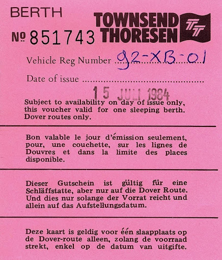Zeebrugge- Dover ticket