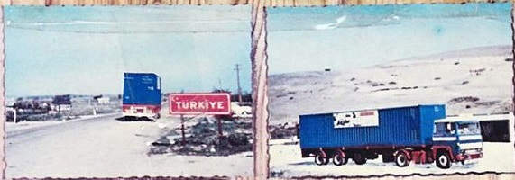 Old Postcard  of compagny Rynarts Trucks about 1970 trips to Turkey and Iran - kopie