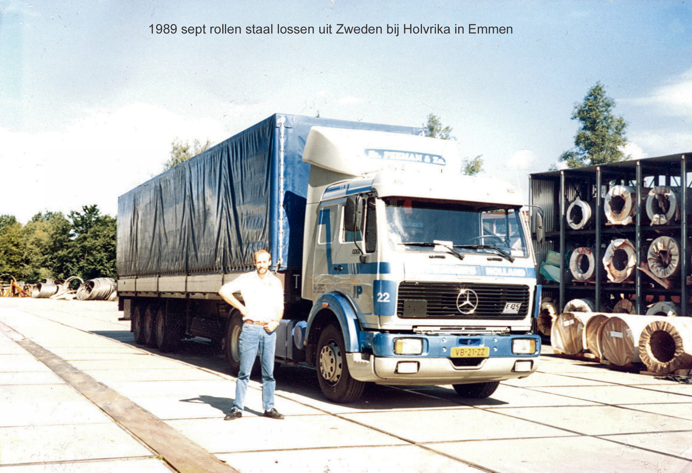 Peeman-Mercedes-Benz-1935-350HP-Unloading-return-cargo--from-Sweden-steel-roles-Emmen-Holland-001-1-sept-1989