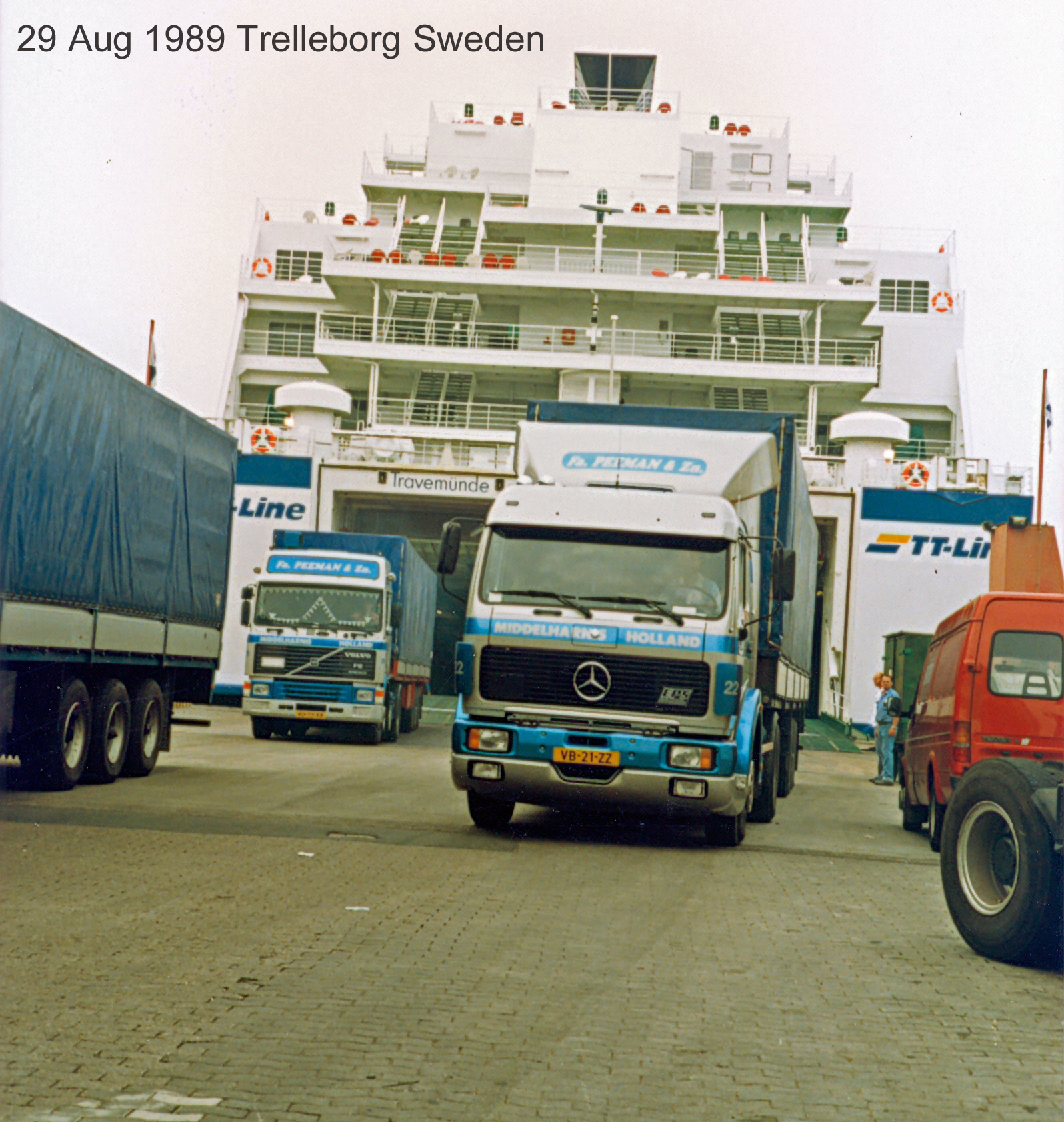 Peeman-Trucks-harbour-Trelleborg--leaving-ferry-Travemunde-Germany--Trelleborg-Sweden--29-aug-1989
