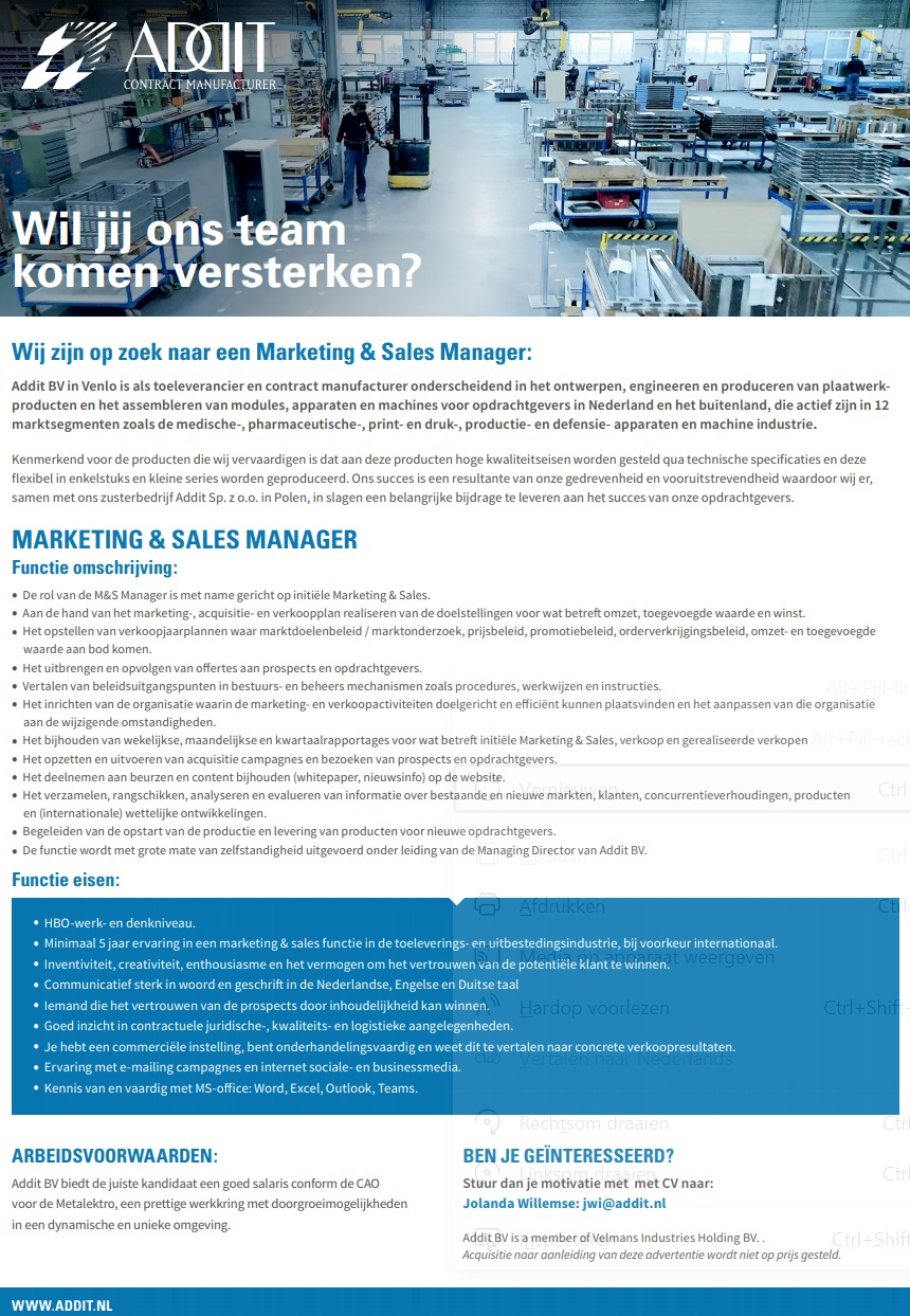 Vacature Marketing & Sales Manager