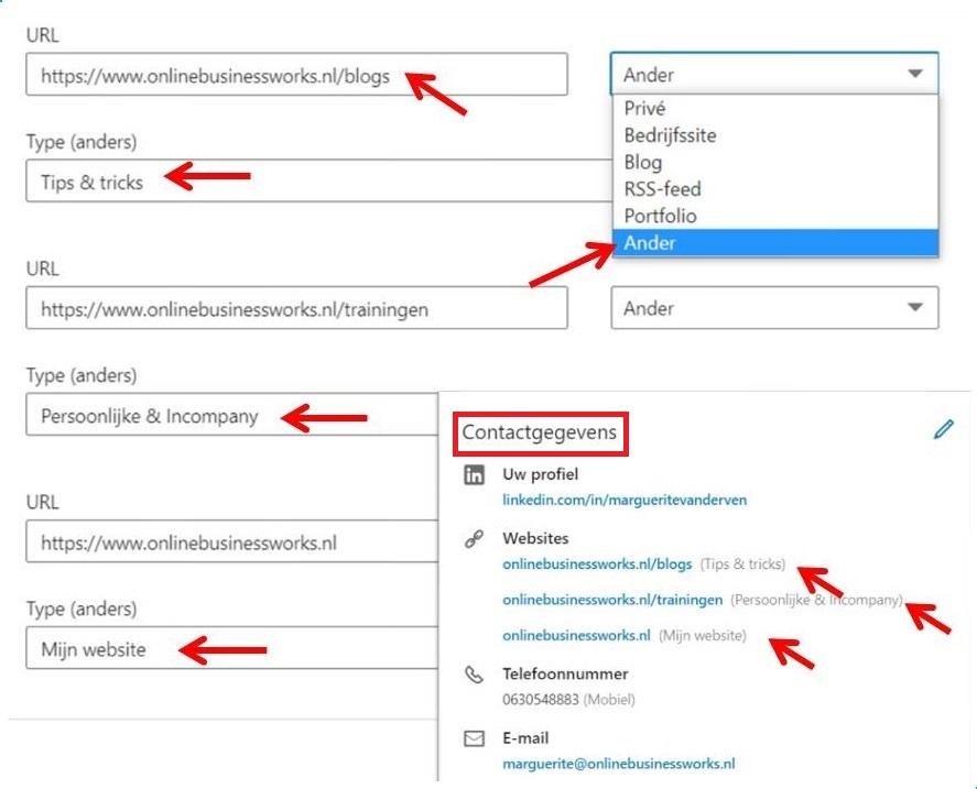 Onderdelen van je website toevoegen bij Contactgegevens