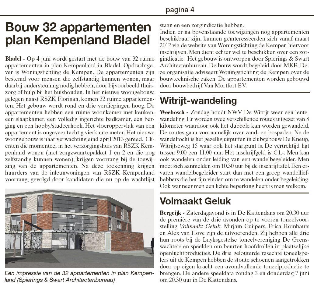 Bouw 32 appartementen plan Kempenland Bladel