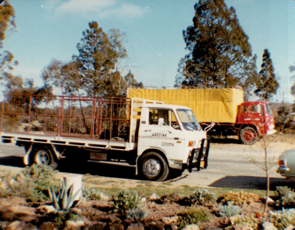 1--Our-first-truck--Bedford--at-the-back-and-Mazda-for-deliveries-front-at-Zalka-Heights-Cooma