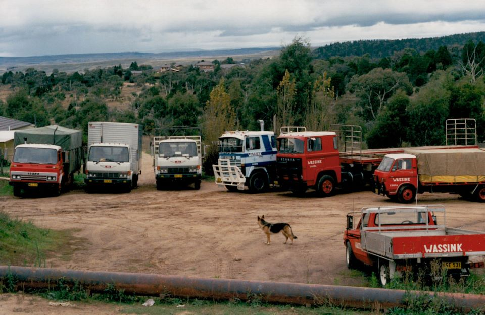 4-Yard-in-Cooma-L--R-Isuzu--Hino-5-ton-Hino-FF177-8-Ton--Scania-LKT-141--Scania-LB-110--Mazda-Ute-and-the-dog-Herta