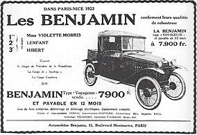 1923-Publicite_des_voitures_Benjamin,_suite_à_la_course_Paris-Nice