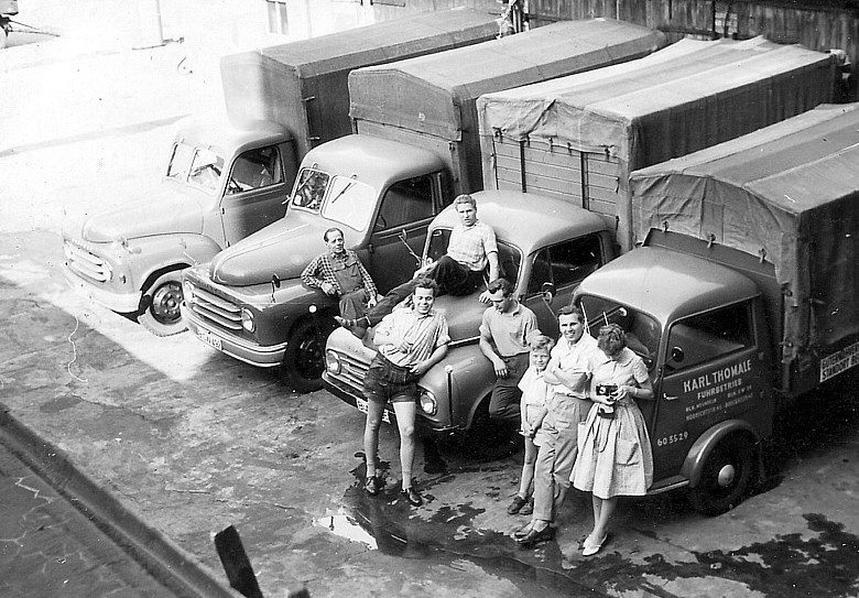 1960-Berlin-Neukolln-Fuhrbetrieb-Karl-Thomale-Hanomag-L-28--Borgward-B1500--B511--Tempo-Wiking-Pritschenwagen