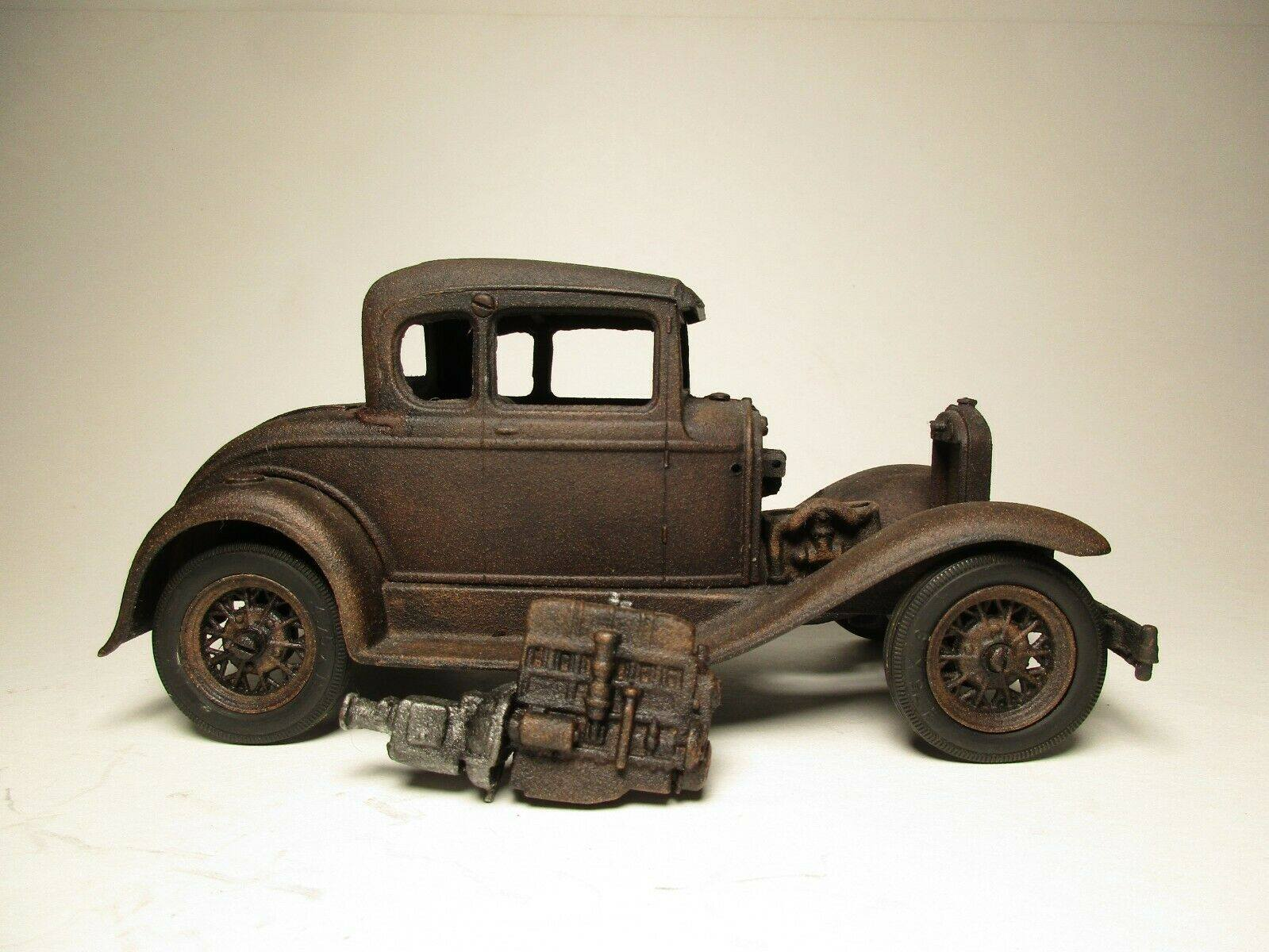 Vintage-Hubley-1932-Ford-Model-A-Coupe-and-Engine---Rusty-Weathered-Barn-Find-1