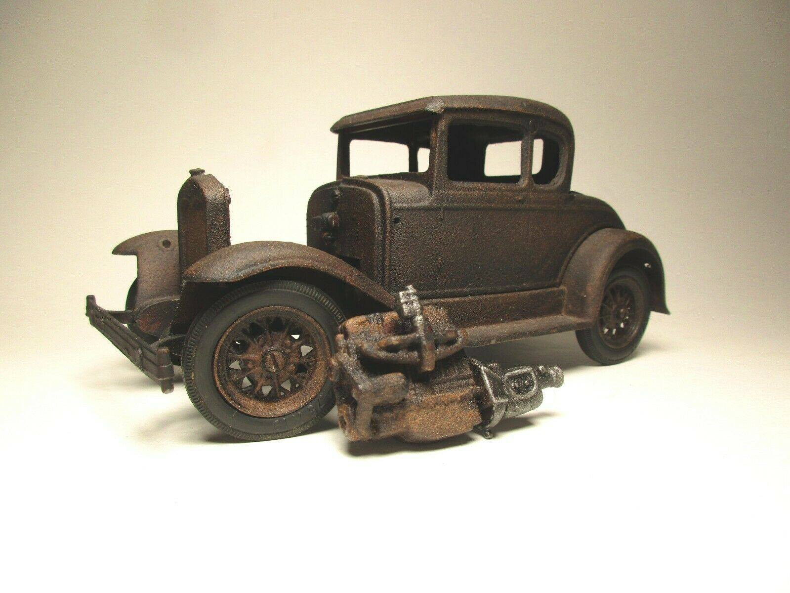 Vintage-Hubley-1932-Ford-Model-A-Coupe-and-Engine---Rusty-Weathered-Barn-Find-5
