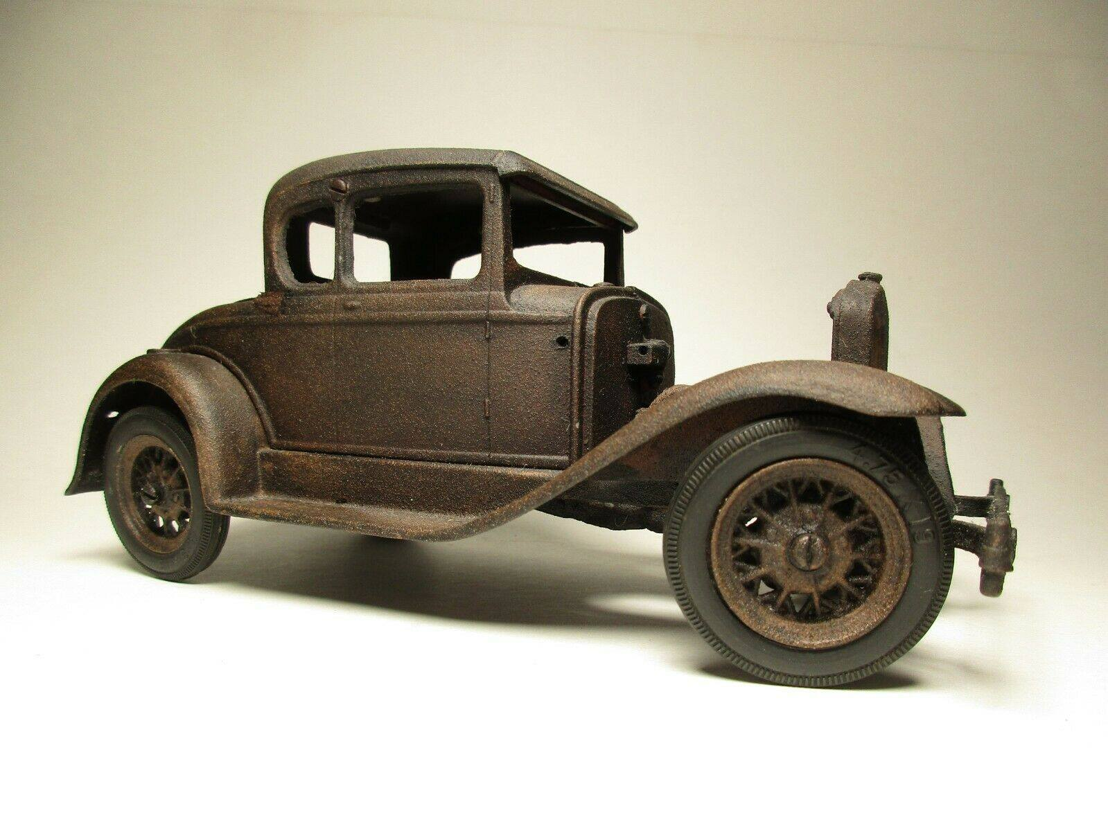 Vintage-Hubley-1932-Ford-Model-A-Coupe-and-Engine---Rusty-Weathered-Barn-Find-8