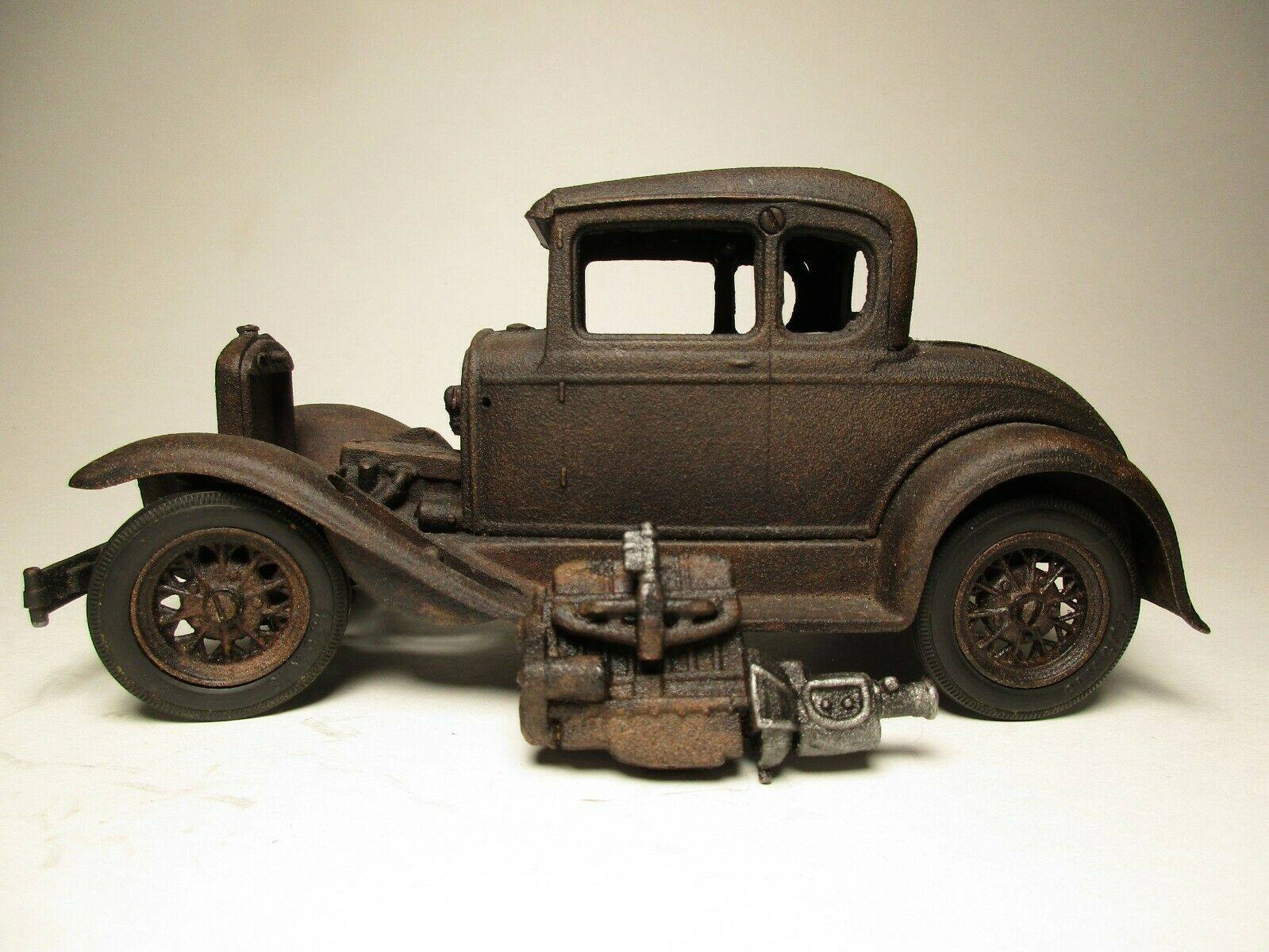 Vintage-Hubley-1932-Ford-Model-A-Coupe-and-Engine---Rusty-Weathered-Barn-Find-9