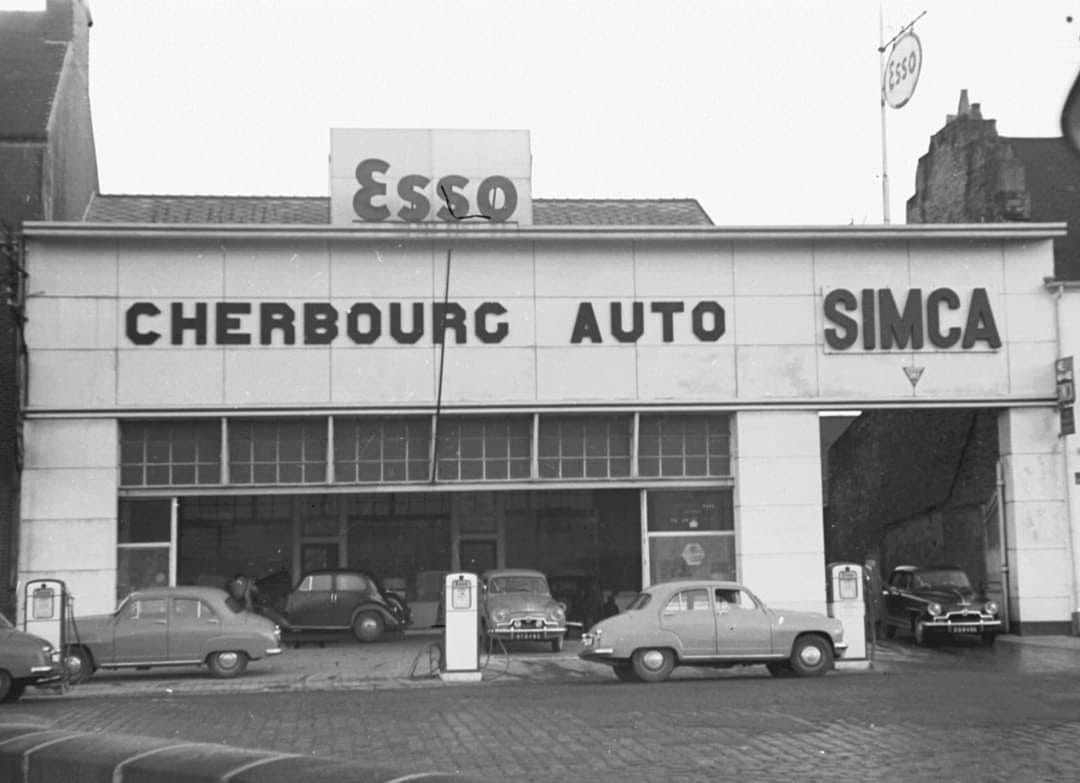 Simca-Garage--Cherbourg-Auto--in-Cherbourg-rond-1959