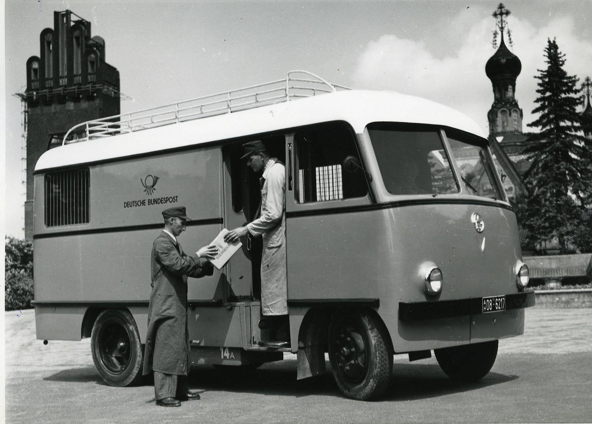1955-Darmstadt-Deutsche-Bundespost-Elektrolastwagen-Maschinenfabrik-Esslingen-Paketpostwagen-EL-2500