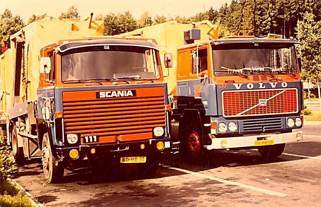 Scania-Volvo--Dirk-van-Dijk-en-Tom-Edelbroek-met-lege-silo-s-onderweg-naar-Neuherberg--foto-gemaakt-bij-Dierdorf--voorjaar-1981