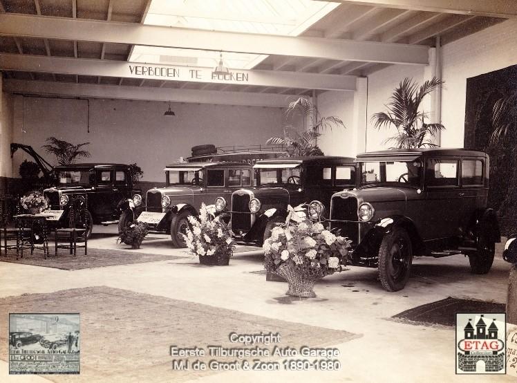 1928-Showroom-Poststraat-Tilburg-4-Chevrolet-Sedans