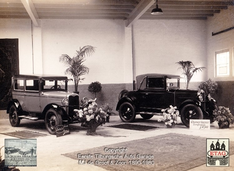 1928-Showroom-Poststraat-Tilburg-5-Chevrolet-Sedan-Cabrio