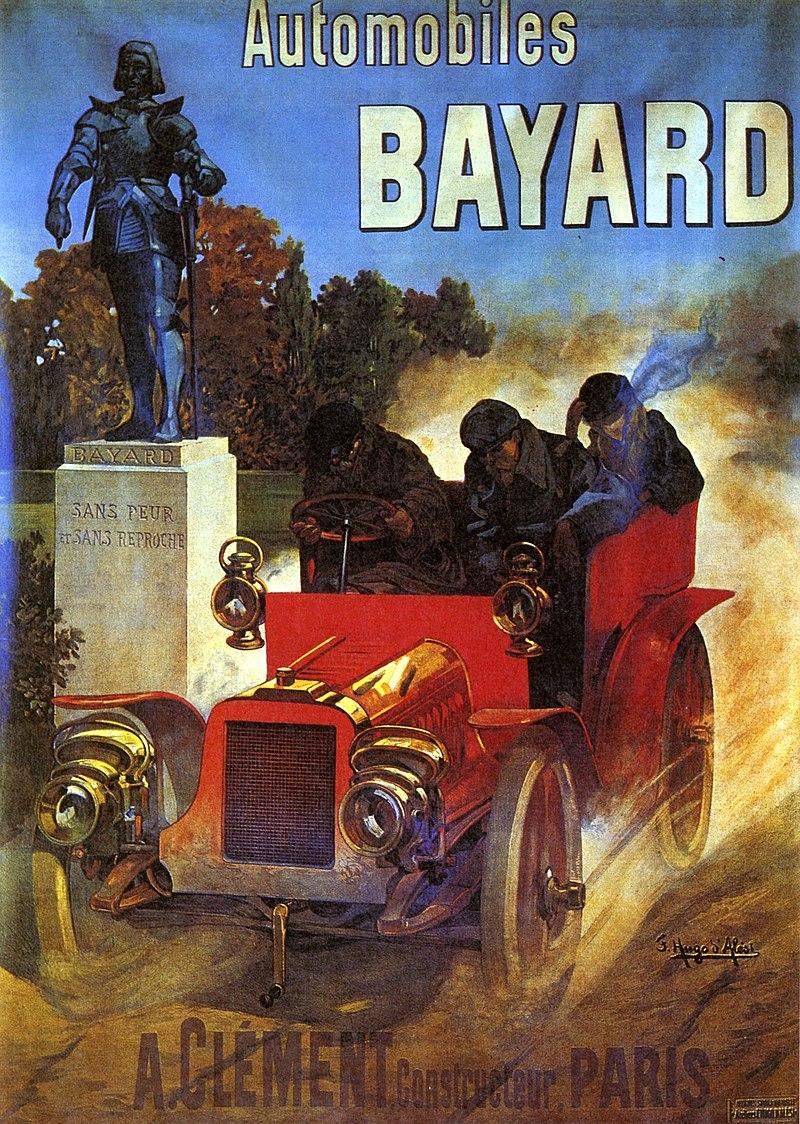 1905-publiciteitsbeeld-van-Clement-Bayard-met-het-standbeeld-van-de-Chevalier-Bayard-dat-voor-de-fabriek-in-Mezieres-stond-en-het-bedrijfslogo-vormd