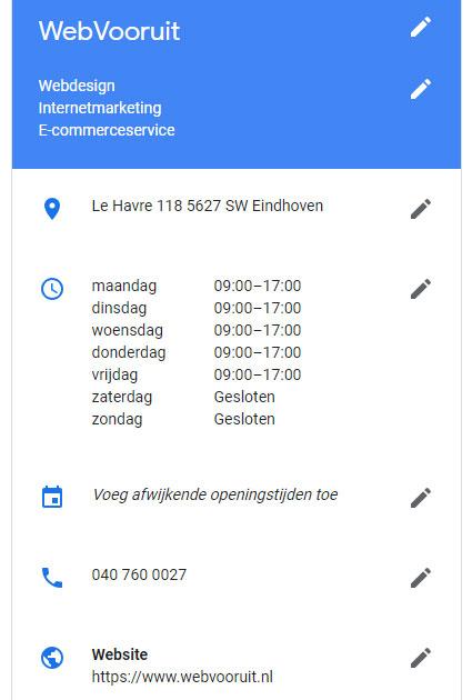 Basisgegevens in Google Mijn Bedrijf