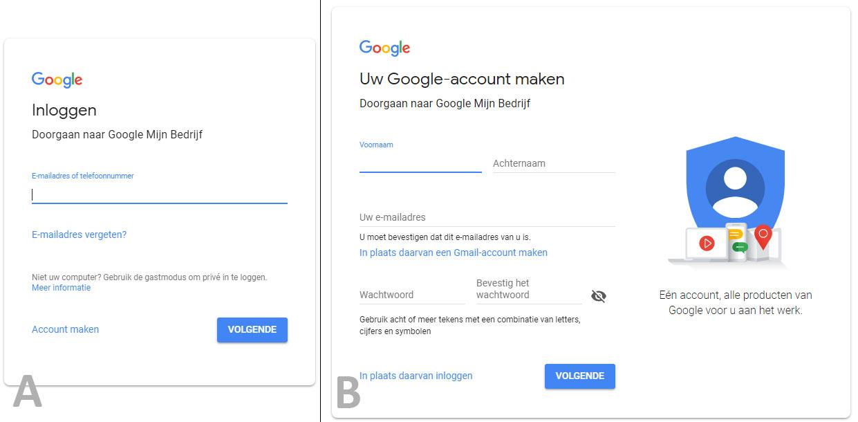 Inloggen of aanmelden bij Google Mijn Bedrijf