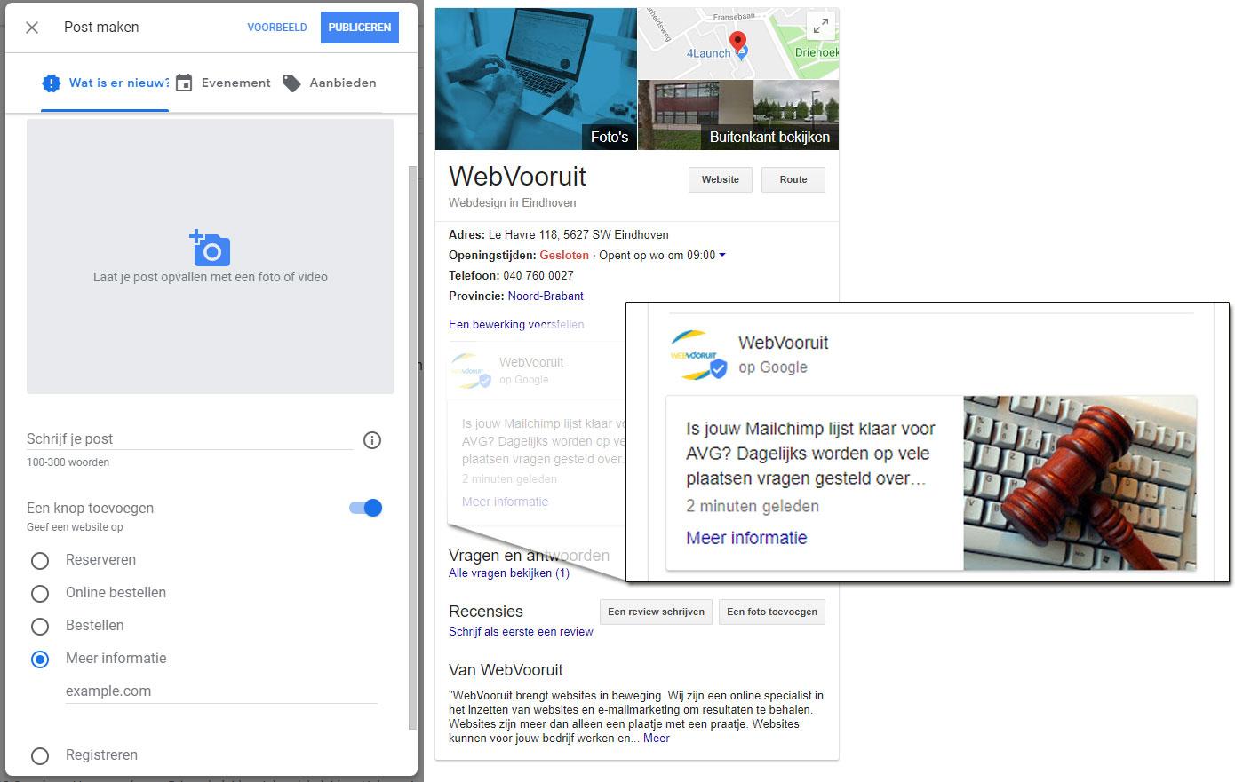 Post maken in Google Mijn Bedrijf