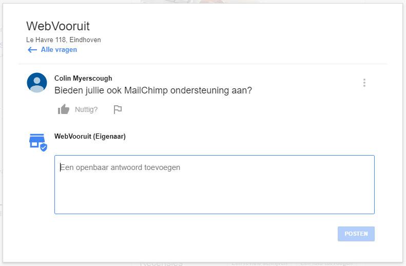 Vraag stellen in Google Mijn Bedrijf