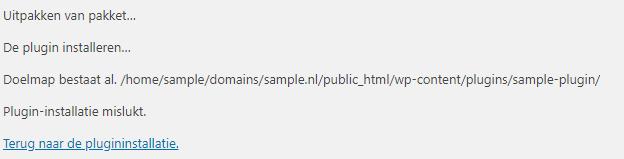 Doelmap bestaat al in WordPress
