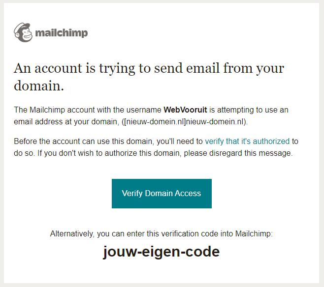Voorbeeld mail Mailchimp domein bevestiggen