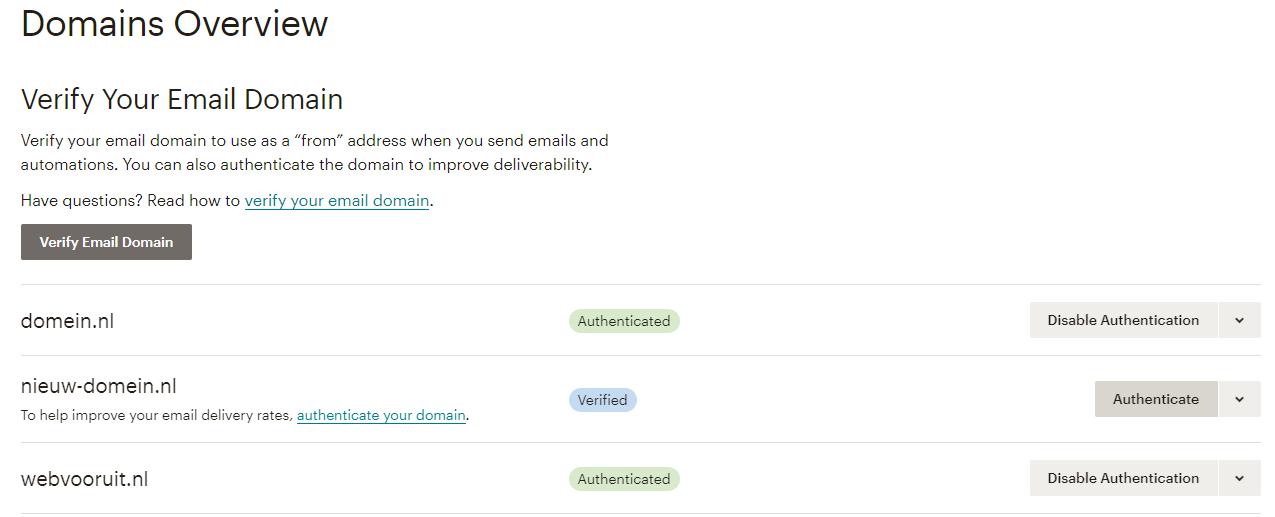 Overzicht domeinen in Mailchimp