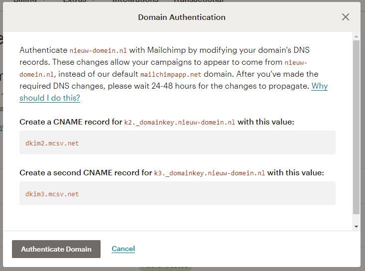 Mailchimp DKIM popup